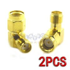 2PCS RP-SMA Female to SMA Female Right Angle 90-Degree Gold Plated Adapter
