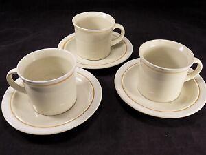 "3 JEPCOR STONEWARE CASUAL CLASSIC 3"" T COFFEE CUPS & SAUCERS Beige Tan Stripe"