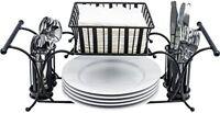 Sorbus Utensil Buffet Caddy Use For Napkin, Cutlery, Plate Holder (Black)