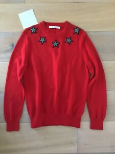 Givenchy Star Appliqué Cotton Jumper Red