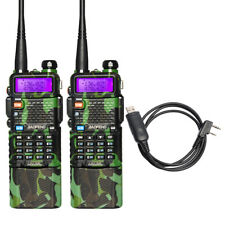 2 X BaoFeng UV-5R Camouflage Two Way Radio Walkie Talkie 3800mah Battery +Cable