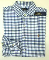 NWT $89 Polo Ralph Lauren Oxford Long Sleeve Shirt Mens Blue White Plaid NEW