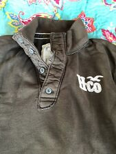 Men's HOLLISTER LARGE Polo 1/4 Button Up Long Sleeve Shirt Brown
