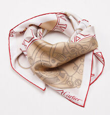 Women's New $330 CARTIER Gold and Red Printed Watch Movement Motif Silk Scarf