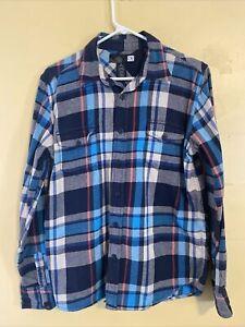 OP Ocean Pacific Blue Plaid Flannel long sleeve board shirt Men's size Medium