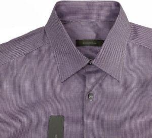 NEW $395 Ermenegildo Zegna Shirt!  XXL  Purple & Silvery Gray Houndstooth ITALY