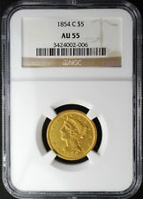 1854-C WEAK C $5 LIBERTY HEAD GOLD HALF EAGLE, NGC AU55, VERY RARE