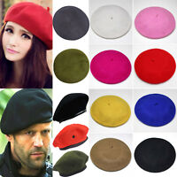 Solid Warm Wool Winter Men Women Beret French Style Beanie Military Hat Ski Caps