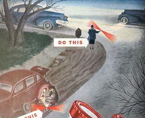 1948 BondFlashlight Batteries Light Road Spotlight Emergency Vintage Print Ad