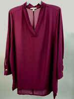 Terra And Sky Womens Plus Size Woven V Neck Long Sleeve Tunic 3X 24W 26W New