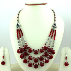 NECKLACE EARRINGS NATURAL BLOOD RED QUARTZ FACETED BEADED GEMSTONE 71 GRAMS
