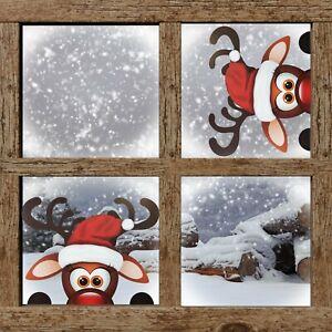 2x Large Christmas Reindeer Window Stickers Festive Fun Childrens Wall Decor