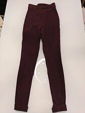 American Apparel Riding Pant Burgundy Super Skinny High Waist Ribbed Size XS