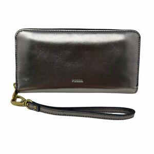 Fossil Women's Logan RFID Zip Around Clutch Metallic Pewter Leather Wallet