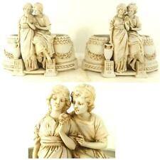 PAIR HERTWIG KATZHUTTE BISCUIT BISQUE PORCELAIN PLANTERS CLASSICAL FIGURES