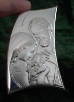 Italian Silver Holy Family icon on a wood stand