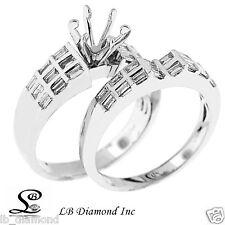 0.87CT Diamond Engagement Ring/Wedding Band Set in 18k White Gold