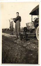 Bib Overalls Man Holds Huge Fish Boxer Dog Car 1910s Real Photo Postcard Fishing