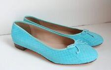 JCrew Collection Kiki Snakeskin Ballet Flats Size 8.5 Scuba Blue Shoes