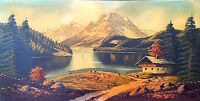 """LARGE OLD SIGNED ORIGINAL THICK OIL ON CANVAS PAINTING """"LAKE SIDE SCENE"""" 40""""x20"""""""