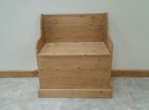 WOODSTOCK   PINE SETTLE STORAGE BEDROOM HALL  SEAT FULLY  ASSEMBLED