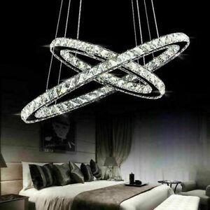 Modern 48W LED Crystal Oval Ring Pendant Light Chandelier Lamp Ceiling Fixture