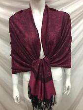 TWO TONE PAISLEY REVERSIBLE WEAR PASHMINA CASHMERE SCARF SHAWL WRAP PINK BLACK