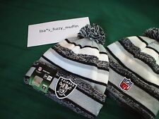 Oakland Raiders New Era knit pom hat beanie NEW Tags OnField AUTHENTIC! 2014-15