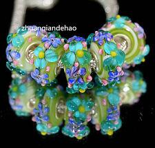 5pcs MURANO Lampwork charm Beads fit 925 silver European Bracelet Chain a1105