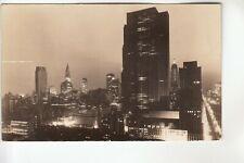 Seidman Real Photo Postcard Rockefeller Center at Night New York City NY