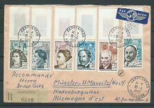 LETTRE - 1962 YT 1345 à 1350 CÉLÉBRITÉS