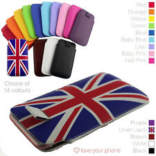 Premium Quality Leather Pull Tab Pouch Case Cover Protective Holster✔Union Jack