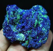Top !!Display Blue Azurite On Green Malachite Mineral Geode specimen China