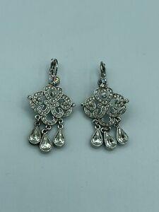 Joan Rivers Clear Crystal Rhinestone Teardrop Chandelier Silver Tone Earrings