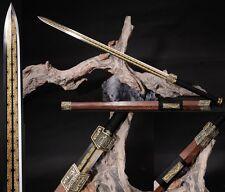 "Chinese Sword ""Han Jian""(劍)High Manganese Steel Sharp Alloy Fitting Handmade #80"