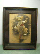 Antique M. Greiner Embossed Hand Colored Vintage Print of Dutch Girl