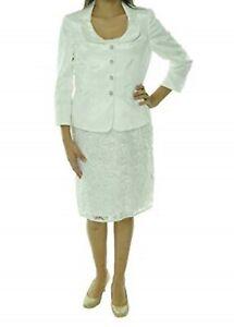 """Tahari ASL Luxe Suit Sz 6 White """"Wendi"""" Vintage Vibe Soutache Net Skirt Suit"""
