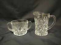 Vintage Anchor Hocking Prescut Clear Pineapple Glass Creamer & Open Sugar Set