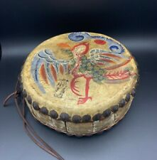 Early Chinese Hand Drum Painted Phoenix Dragon