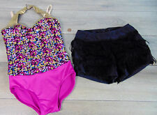 Weissman DANCE SHOW COSTUME Confetti Sequin Leotard Balera Flapper Skirt IC 7/8
