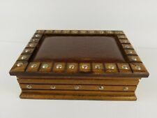 Vintage Wood Mele Jewelry Box Ornate Gold Velvet Unique Primitive Rustic
