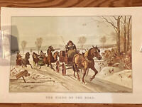 Currier & Ives Lithograph Print/ Calendar The Fiend Of The Road- Sept. 1967