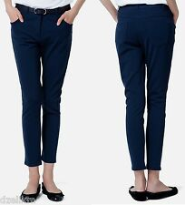 NWT $150 Lacoste 5 Pocket Skinny Knit Ankle Length Pant Size M in Navy