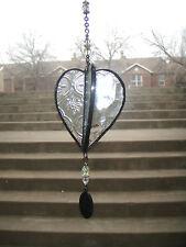 J Devlin Glass Art Triple Heart Clear Vintage, Water Glass Textured Ornament NIB