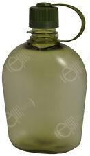 Transparente Verde BOTELLA BIDÓN - 1 Litro Moderno Estilo Militar Beber Cantina
