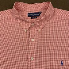 Mens Polo RALPH LAUREN Pink Gingham Button Down Shirt 4XL Big 4XB