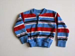 Vintage 1980s HealthTex Velour Kids Sweater Pullover Red White Blue Striped 4T