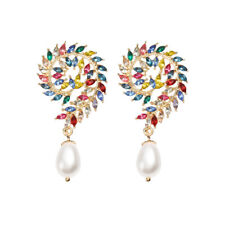 Crystal With Pearl Earrings Super Swirl Rainbow Color