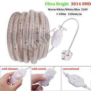 Ultra Bright 220V 240V LED Strip Lights 3014 Waterproof Commercial Light+UK Plug