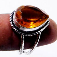 Citrine Quartz 925 Sterling Silver Plated Handmade Jewellery Ring UK Size-Q